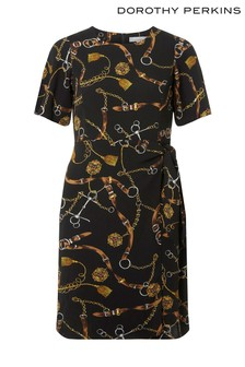 שמלה עם הדפס חגורה במידת פטיט של Dorothy Perkins