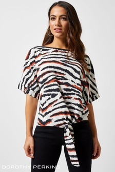 Dorothy Perkins Petite Terracotta Zebra Resort Shirt