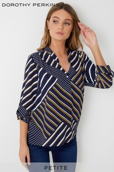 Dorothy Perkins Petite Stripe Roll Sleeve Shirt
