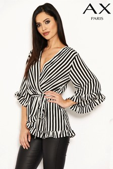 AX Paris Striped Wrap Top