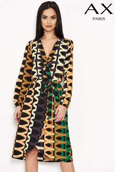 שמלת מעטפת בהדפס אצטקי של AX Paris