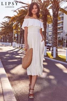 Lipsy Cold Shoulder Tiered Midi Dress