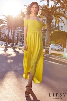 Lipsy Shirred Bardot Maxi Dress