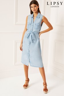 Lipsy Sleeveless Midi Shirt Dress