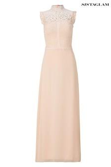 Sistaglam Pauline High Neck Lace Bodice Chiffon Maxi Dress