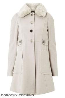Dorothy Perkins Ivory Fur Coat