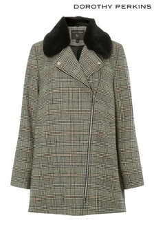 Dorothy Perkins Check Faux Fur Collar Biker Jacket