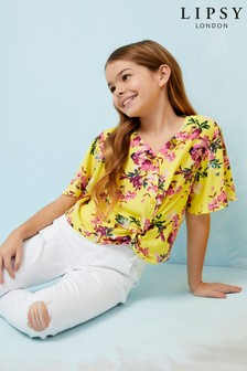 Lipsy Girl Floral Knot Front Top
