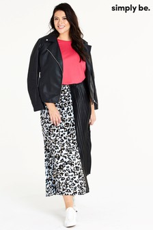 Simply Be Leopard Print Pleated Maxi Skirt