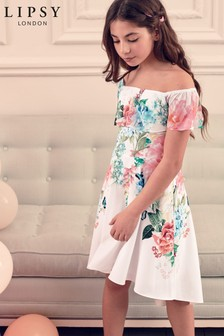 Lipsy Girl Floral Frill Shoulder Dress