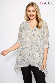 Yours Notch Neck Butterfly Print Shirt