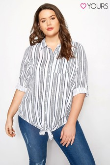 Yours Tie Front Stripe Shirt