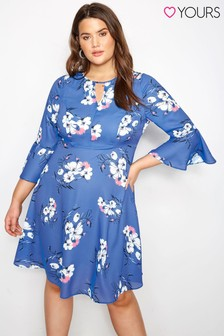Yours Floral Keyhole Fluted Sleeve Dress