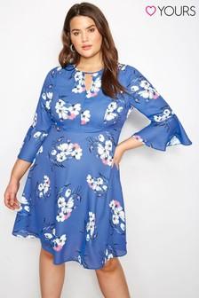 Sukienka z poszerzanymi rękawami Yours w motywy kwiatowe