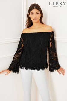 d6fa43b2e4510b Black Bardot Off Shoulder Tops