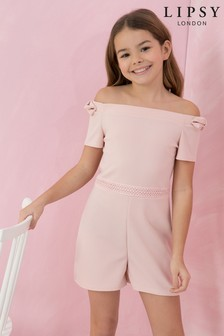 Lipsy Girl Bow Off The Shoulder Playsuit