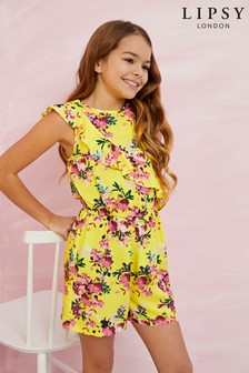 Lipsy Girl Floral Frill Playsuit