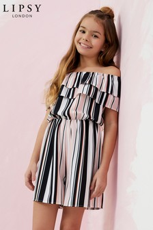 Lipsy Girl Off the Shoulder Stripe Playsuit