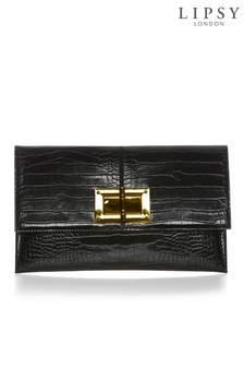 Lipsy Turnlock Detail Croc Envelope Clutch