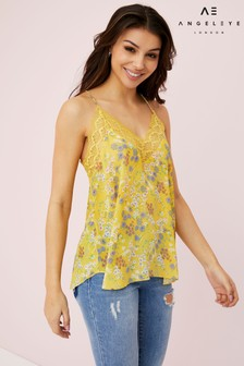 Angeleye Floral Print Lace Strap Top