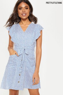 PrettyLittleThing Plunge Belted Mini Dress