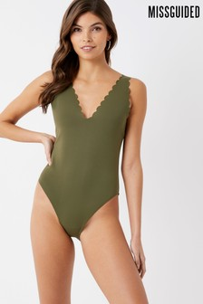 Missguided Scallop Deep Plunge Swimsuit