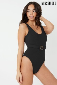 Missguided Textured Belted Swimsuit