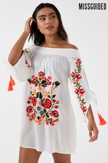 Missguided Floral Embroidered Bardot Beach Dress