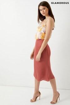 Glamorous Satin Slip Midi Skirt