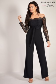 Sistaglam Loves Jessica Bardot Wide Leg Jumpsuit