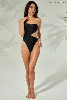 South Beach Shimmer One Shoulder Tortoise Shell Ring Swimsuit