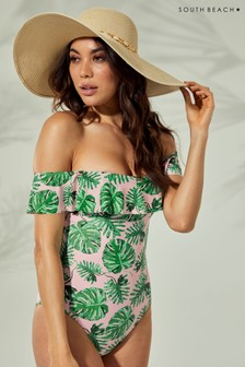 South Beach Palm Leaf Print Bardot Frill Swimuit