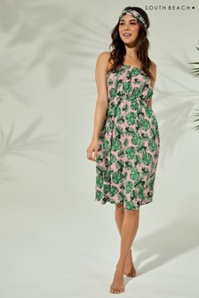 South Beach Floral Print Bandeau Midi Dress