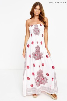 South Beach Block Print Bandeau Maxi Dress