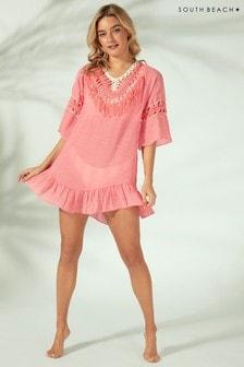 Платье с открытой спиной, вязкой кроше и кисточками South Beach