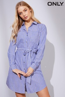 Only Cotton Shirt Striped Dress