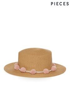 Pieces Straw Hat with Pom Pom