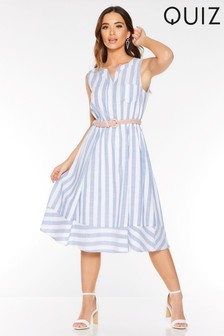 Quiz Stripe Midi Skater Dress