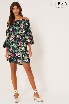 Lipsy Tropical Bardot Puff Sleeve Dress