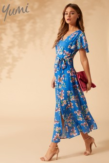 Yumi Spring Flower Print Side Slit Maxi Dress