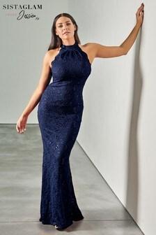 Sistaglam Loves Jessica Petite Halter Sequin Maxi Dress