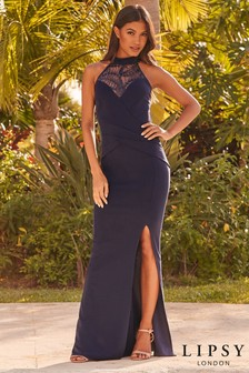 Lipsy Lace Sequin Insert Halter Maxi Dress
