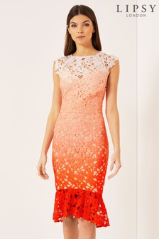 Lipsy Lace Ombre Flare Bodycon Dress