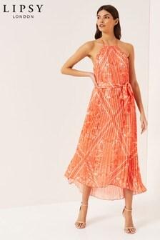 Lipsy Perrie Printed Halter Lurex Dress