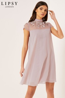 Lipsy Embellished Yoke Swing Dress