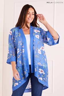 Mela London Curve Tropical Print Long Kimono