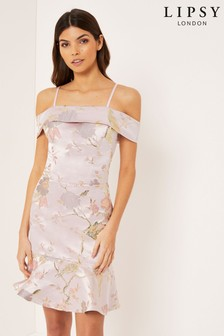 Lipsy Floral Jacquard Bardot Mini Dress