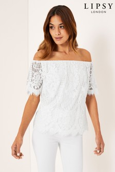 Lipsy VIP Lace Short Sleeve Bardot Top