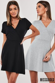 Missguided Wrap Front Skater Dress Pack Of 2