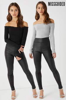 Missguided Lettuce Hem Bardot Bodysuit - Pack Of 2